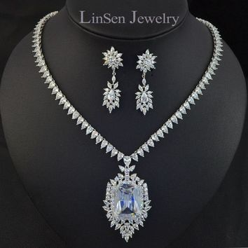 New design luxury famous brand AAA Cubic Zirconia big pendant necklace earring jewelry set for bride,high quality bridal jewelry