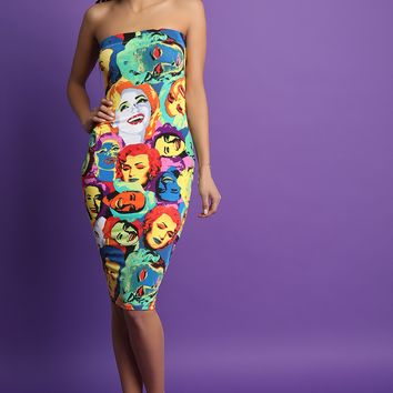 Beauty Pop Art Strapless Midi Dress