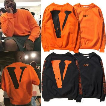 Vlone  Mens fashion off The White Men's Hoodie Black Orange Big Back V Letter Hip-hop Men's Hoodies Pullovers justin bieber sweatshirt