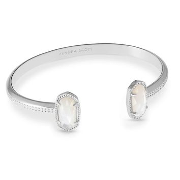 Kendra Scott: Elton Silver Cuff Bracelet In Ivory Mother Of Pearl