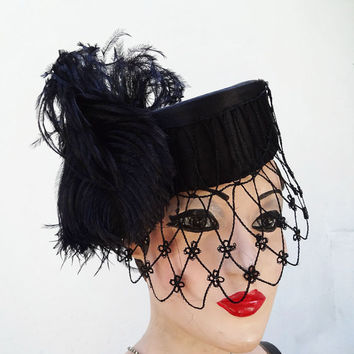 Black Pillbox Hat, French Veil, Feather Fascinator Head Piece, Weimar, Gothic, High Fashion, Halloween Wedding, Batcakes Couture