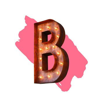 "18"" Letter B Lighted Vintage Marquee Letters (Modern Font/Rustic)"