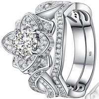 1.5 Ct Princess White Cz 925 Sterling Silver Wedding Band Engagement Ring
