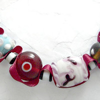 Lampwork beads and burgundy ribbon necklace. Bright colored glass beads. Dark red ribbon jewelry. Ships free.