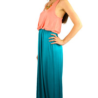Sleeveless Color Block Maxi Dress - Peach/Turquoise