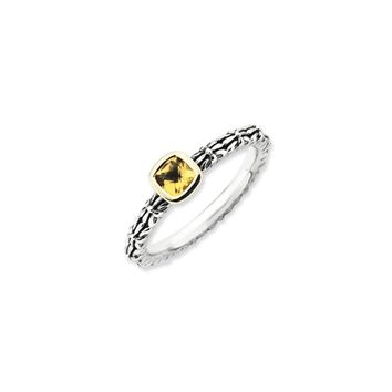 Stackable Sterling Silver & 14K Gold Plated Citrine Ring