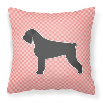 Giant Schnauzer Checkerboard Pink Fabric Decorative Pillow BB3673PW1414