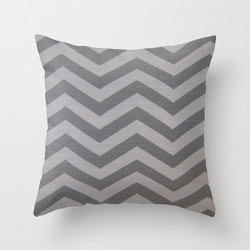 Chevron Grey Pattern Throw Pillow by unidostees | Society6