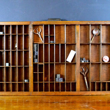 Vintage Printing Press Drawer, Antique Wood Printer's Drawer, Jewelry Organizer, Hamilton Wooden Letterpress Drawer, Shadow Box