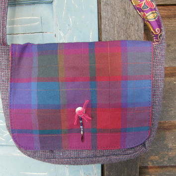 Purple Rain Wool Messenger Bag