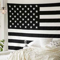 Black and White American Flag Tapestry on RoyalFurnish.com