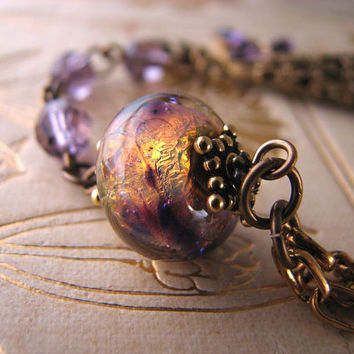 HOLIDAY SALE Purple bracelet with Lampwork and by shadowjewels