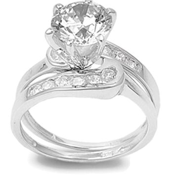 Round Solitaire Cubic Zirconia CZ Bridal Wedding Engagement Ring Set Sterling Silver 2 Carats