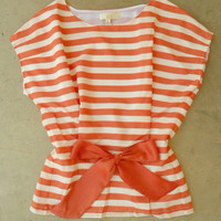Central Stripe Blouse in Orange [3213] - $34.00 : Vintage Inspired Clothing & Affordable Fall Frocks, deloom | Modern. Vintage. Crafted.