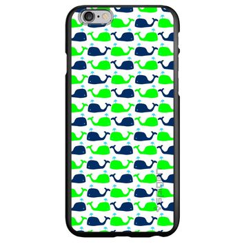 DistinctInk® Spigen ThinFit Case for Apple iPhone or Samsung Galaxy - Green Navy Cartoon Whales