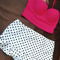 Pink Halterneck Bustier Bikini with Polka Dot High Waisted Buttom