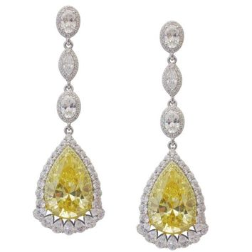 Lafonn Simulated Canary Yellow Pear Cut Diamond Earrings