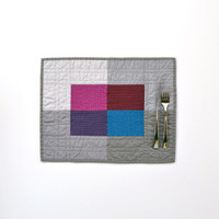Modern Placemats, Quilted Placemats, Gray Table Decor, Grey Placemats, Jewel Tone, SET OF 4