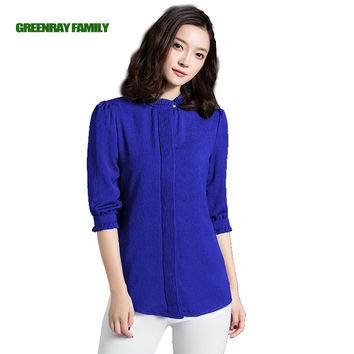Plus 4XL Office Lady Chiffon Shirt Elegant OL Pleat Lace Petal Mandarin Collar Half Sleeve Women Blouse Vintage Uniform Workwear