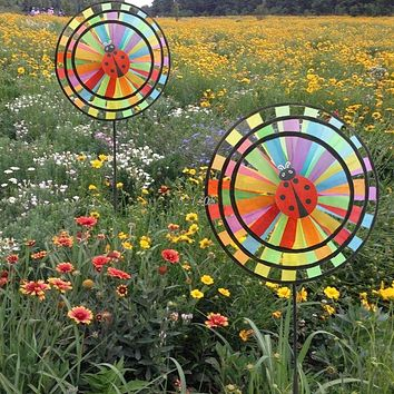 Colorful Rainbow Triple Wheel Wind Spinner Windmill Garden Yard Outdoor Decor