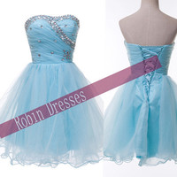 New Custom A-line Strapless Short Blue Prom Dresses Homecoming Dresses Party Dresses