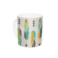 "Amanda Lane ""Painted Feathers Cream"" Tan Tribal Ceramic Coffee Mug"