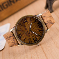 Men's Wristwatch Wooden Quartz Watch Casual Leather Strap Watch