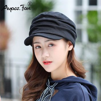 New Women Winter Hat Warm Visors Knitted Hats For Woman Female Girls Black Simple Cap And Winter Ladies Fashion Hat