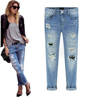 Vintage retrol 2016 torn ripped jeans for women fashion new blue denim jean with holes 26-31 plus size trousers pantalon femme