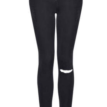 MOTO Ripped Low Rise Leigh Jeans - Black