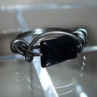 Mens Black Onyx Wire Wrap Ring by rosebling on Etsy