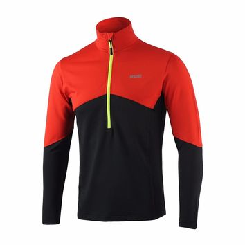 Arsuxeo Men's Long Sleeve Running Shirt MTB Bike Bicycle Quick Dry Jersey Outdoor Sports Clothing Sportswear - Green Red Blue