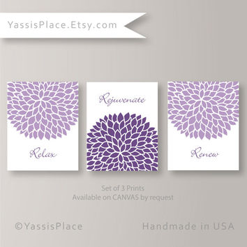 Bathroom Decor Floral Art Purple Home Decor Flourish Artwork Set of 3 Prints Relax Rejuvenate Renew House Warming Gift by YassisPlace