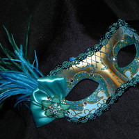 Masquerade Mask in Shades of Teal, Turquoise and Gold