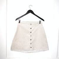 neutral CORDUROY popper skirt snap up mini skirt mod 1960s style snap front skirt size 27 28