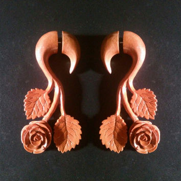 Fake gauge earings, rose, wooden fake piercing, wooden earrings, handmade earrings, hand carved jewelry, organic earrings, organic jewelry