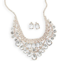 Jeweled Gold Tone and Crystal Fashion Statement Necklace