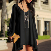 Chiffon V-neck Long Sleeve Ruffled Mini Dress