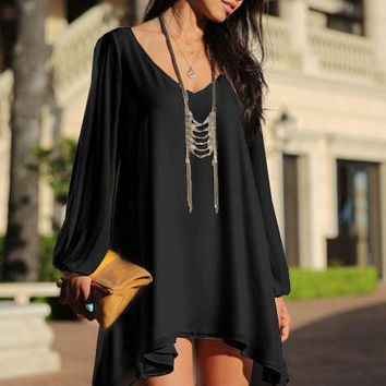 Black Loose Fitting Mini Chiffon Dress with Sleeves Slit