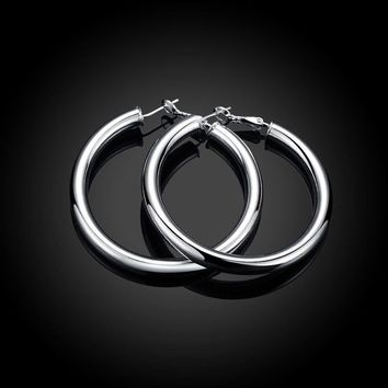 .925 Sterling Silver Plain 2mm Thin Polished Round Hoop Earrings - CHOOSE A SIZE