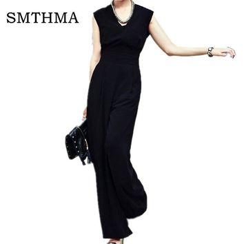 SMTHMA 2017 New  spring  summer  female one-piece jumpsuit jumpsuits wide-legged pants overall