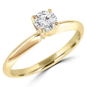 1/2 Carats Solitaire Diamond Engagement Ring GH/SI1-SI2 14K Yellow Gold or White Gold
