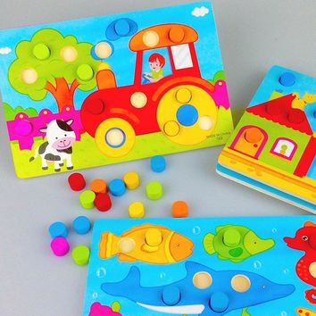 BABYS  COLOUR MATCHING WOODEN TOYS MUSHROOM PUZZLE ACKNOWLEDGE CHILDREN EDUCATIONAL