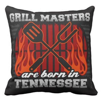 Grill Masters Are Born In Tennessee Outdoor Pillow