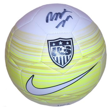 Meghan Klingenberg Autographed Yellow United States Logo Soccer Ball, Proof Photo