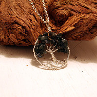 Petite Sterling Silver Tree Of Life Sapphire Necklace On Sterling Chain Wire Wrapped Pendant Jewelry September Birthstone -Birthstone Series