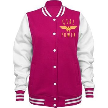 Girl Power Wonder Woman Varsity Jacket