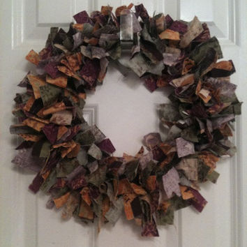 Autumn Harvest Fall Fabric Rag Wreath