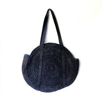 Vintage round large black raffia beach tote shopping bag