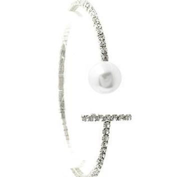 Rhinestone Coil Wire Cuff Adjustable Pearl Braclet